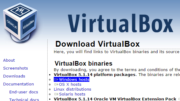 VirtualBoxのダウンロード